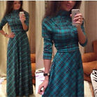 Womens Elegant Vintage Bohemia Boho Plaids/Checks Ladies Maxi Dress