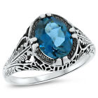 GENUINE LONDON BLUE TOPAZ .925 STERLING SILVER ANTIQUE STYLE RING,   #720
