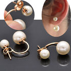 Gold&Silver Fashion Women's Stud Earrings Filled Double White Freshwater Pearl