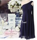 EVE Knee Length Navy Blue Chiffon Waterfall Bridesmaid Dress UK Sizes 6 -18