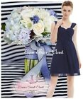 BNWT AMY Navy Blue Chiffon Prom Evening Bridesmaid Occasion Dress UK 6 - 18