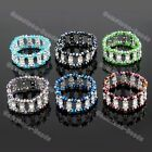 Fashion 2-Rows Faceted Crystal Glass Beads Flower Bracelet Stretchy Jewelry Gift
