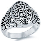 925 Sterling Silver Classic Flower Floral Retro Style Wide Band Ring Size 3-13