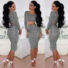Trendy Womens Bodycon Two 2 Piece Midi Skirt Crop Top Set Dog Tooth Print Dress