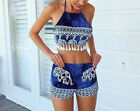 Womens Two Piece  Crop Top Tee Jumpsuit Bra Playsuit Romper Party Trousers Dress