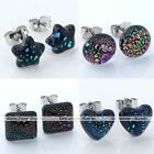 Pair Colorful Dichroic Foil Lampwork Glass Charm Party Ear Studs Earrings Gift
