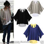 WF23 Celebrity Loose Casual Dolman Loose Tops Blouse Batwing T-shirt  Vouge Vest