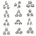 100/500pcs Zodiac Twelve Constellations Charms Alloy Pendants Antique Silver C