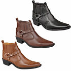 Mens New Cuban Heel Ankle Western Cowboy Boots Black Brown Tan 6 7 8 9 10 11 12
