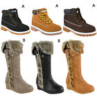 KIDS CHILDRENS FLAT GRIP SOLE BLOCK WEDGE WARM WINTER BOOTS SHOES SIZE