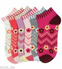 Flowers Womens/Teen Ankle Socks 3 Pair Pack 9-11
