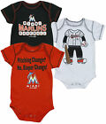 MLB Baseball Infants Miami Marlins 3 Pack Creeper Bodysuit Set, Red/Black/White