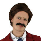 70'S ANCHOR NEWSREADER MAN FANCY DRESS ACCESSORY WIG & MOUSTACHE MOVIE CHARACTER