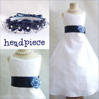 Beautiful White/navy blue flower girl party dress size 18m 2 4 6 8 10 12 14