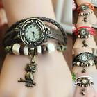 New Women Design Retro Leather Bracelet Owl Decoration Quartz Wrist Watch MSYG