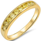 Sterling Silver Gold Plated Yellow CZ Wedding Elegant Stackable Ring Size 3-11