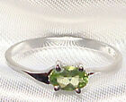 Genuine Faceted Oval Green Peridot .925 Sterling Silver Ring -- PD861