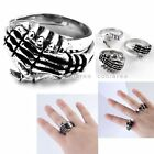 2x Set Gothic Punk Stainless Steel Skull Skeleton Hand in Hand Shake Ring US9-12