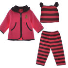 Baby Boy Girls Kids Outfits Bear Hooded Tops Coat Jacket Pants Hat Striped 3-24M