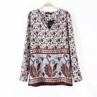 New Womens Ladies Vintage Long Sleeve Paisley Print Pullover Blouse Tops Shirt