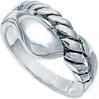 925 Sterling Silver Twisted Rope Design Abstract Promise Woman's Ring Size 3-11