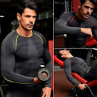 Mens Compression Base Layer Top Tight Long Sleeve Fitness Gym Sport Shirt M L XL