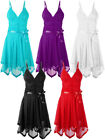 Pleated Strappy Prom Evening Layered Cocktail Party Bridesmaid Dress Womens Size