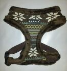 New Fleecy Puppia Dog Harness Fair Isle SNOWBALL - BROWN - S, M, L, XL