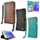 ID Wallet Flip Leather Wristlet Strap Case Cover for Samsung Galaxy Note 5