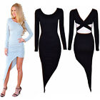 Women Sexy Backless Bodycon Long Sleeve Asymmetric Party Evening Cocktail Dress