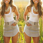 New Ladies Chiffon Long Top Blouse Summer Womens Sleeveless Mini Dress