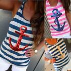 NEW Women's Summer Print Anchor Vest Sleeveless Blouse Casual Tank Tops T-Shirt