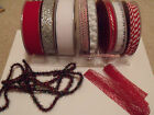 Christmas Candy Twist Red & White Rope Velvet Fret - Speciality Ribbons LAST FEW