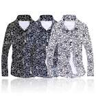 Trend Floral Turn Down Collar Shirt Men Big Size Long Sleeve Casual Blouse Tops