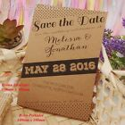Personalised Kraft Retro Polkadot Wedding Save the Date Cards with Envelopes