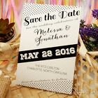 Personalised White Retro Polkadot Wedding Save the Date Cards with Envelopes