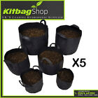 New Fabric Root Pots For Plant Grow Bags  Container Aeration 16-39 - 56L 5 PACK