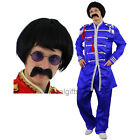 BLUE SERGEANT PEPPER FANCY DRESS COSTUME WITH WIG, TASH + GLASSES 1960S BAND