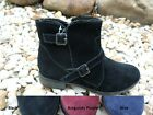 SPORTO ANKLE SUEDE W BUCKLE DETAIL WINTER BOOTS FAUX FUR TRIM WATERPROOF EMMA