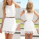 Women Lace Hollow-out Strapless Stretch Bodycon Peplum Evening Party Mini Dress