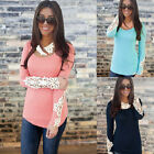 Fashion Lace Sleeve Floral Lace Casual Slim T Shirt Blouse Tops Womens Autumn