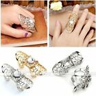 Womens Metal Hollow Crystal Guard Shield Full Double Knuckle Jointed Finger Ring
