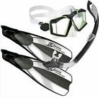 BWS PREMIUM QUALITY Snorkel Set - Sideview SILICONE Mask, DRY TOP Snorkel, Fins