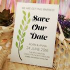 Personalised White Green Vine Wedding Save the Date Cards with Envelopes