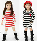 Girls Top Striped Sailor Dress 2-7Y Long Sleeve Party School Casual Kids Clothes