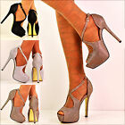Ladies Sparkly Crossed Ankle Strap Peep Toe High Heel Evening Shoes Sandals Size