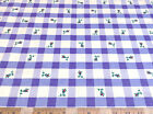 Discount Fabric Polished Cotton Light Blue Plaid Floral 30CT