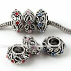 5X Antique Silver Crystal Rondelle Spacer Charms Beads Fit European Bracelet DIY