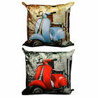 Cool Retro Mod Scooter Cushion Cover With Plain Reverse In Soft Velour Fabric