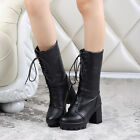 New Fashion Womens Punk Lace up Chunky high heels Cosplay Mid Calf Knight boots